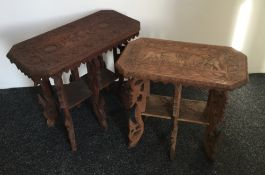 Two Eastern carved side tables