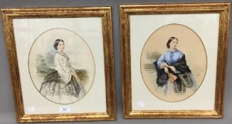A pair of 19th century portraits of a lady, watercolour,