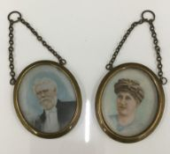 Two late 19th/early 20th century framed miniature portraits