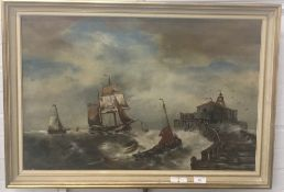 ENGLISH SCHOOL (19th century), Boats coming into Harbour, oil on canvas, unsigned, framed,