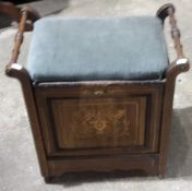 A Victorian inlaid rosewood piano stool