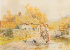 """HORACE HAMMOND (1842-1926) British, Rural Scenes """"Happy Days"""" together with """"The Last Load"""","""