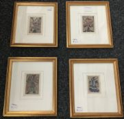 A set of four small Japanese 19th century woodblock prints,