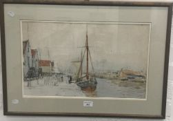 Harbour Side Scene, pencil and watercolour,