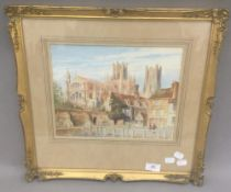 ALBERT HENRY FINDLEY (1880-1975) British, Ely Cathedral, watercolour, signed,