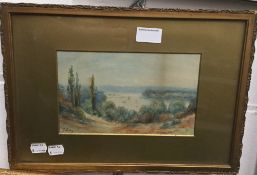F LACY, Lake in a Country Landscape, watercolour, framed and glazed,