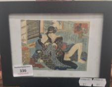 UTAGAWA SURIMONO, Japanese woodblock, erotic scene, framed and glazed. 12.