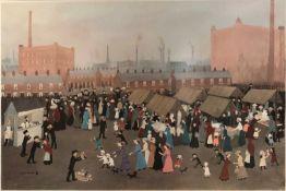 "HELEN BRADLEY (1900-1979) British, ""Hollinwood Market"" Oldham, Fine Art Trade Guild,"