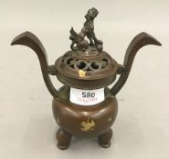 A small Chinese gold splash censer with pierced lid