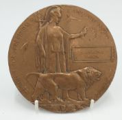 A WWI bronze death plaque to Narbhupal Thapa