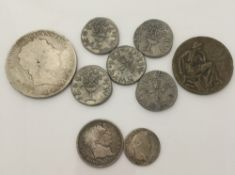 A Georgian silver crown and other coins
