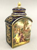 A Dresden porcelain tea caddy