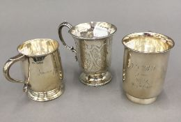 Three small silver Christening mugs (9.