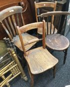 Four various 19th century solid seated chairs