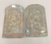 Two Arts and Crafts copper plaques. 37 cm high, 22 cm wide.