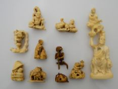 A collection of 19th century carved ivory netsukes and an okimono