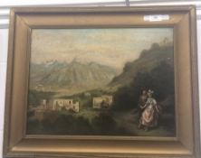 FRENCH SCHOOL (19th century), A Courting Couple with Buildings Beyond, oil on canvas,