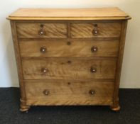 A Victorian satin walnut chest of drawers. 116 cm wide, 53.5 cm deep, 108 cm high.