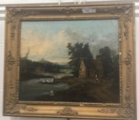CONTINENTAL SCHOOL (19th century), Figures before Cottages and a River, oil on canvas, unsigned,
