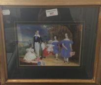 A 19th century painting on ivory of a family group