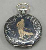 A niello silver pocket watch
