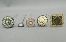 Five vintage hat pins
