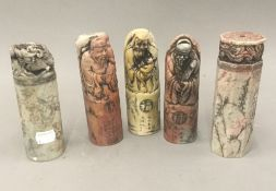 Five Chinese soapstone seals