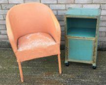A Lloyd Loom linen basket and a Lloyd Loom chair