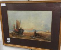 A 19th century watercolour, A Fishing Boat on a Beach,