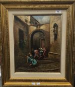 CONTINENTAL SCHOOL (20th century), Fighting in the Streets, oil on canvas, indistinctly signed,