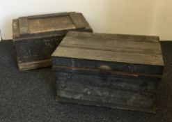 Two Victorian pine tool trunks,