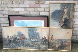 Three hunting prints,