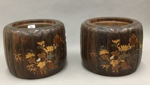 A pair of Japanese lacquered jardiniere's