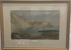 A Victorian watercolour, Fishing Boats on a Beach, monogrammed F J C. 85.