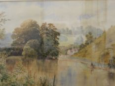 19TH CENTURY SCHOOL, British, The Tranquil Stream, watercolour, initialled G.C.B, framed and glazed.