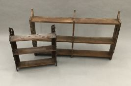 Two sets of Victorian oak hanging shelves