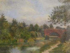 ENGLISH SCHOOL (19th/20th century), Country River Landscape, oil on canvas, indistinctly signed,