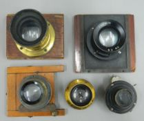 Five plate camera lenses, Ross Taylor Hobson, etc.