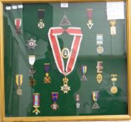 A framed set of Masonic medals