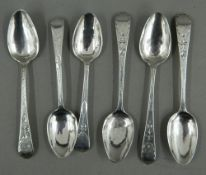 Six Bright Cut pattern teaspoons by Solomon Hougham of London (1795-1797)