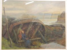 E GIBERNE (19th/20th century) British, Figures Resting, watercolour, signed, framed and glazed.