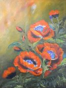 Poppies, oil on canvas, unsigned, framed. 60 x 75 cm.