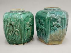 A pair of 19th century Chinese pottery ginger jars