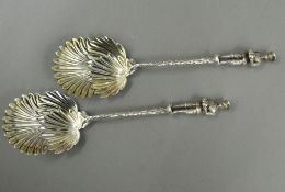 Two plated spoons with soldier form finial