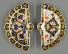 Two Royal Crown Derby fan shape dishes