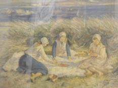 ROBERT GEMMELL HUTCHISON (1855-1936) Scottish, The Picnic, oil on board, signed, framed and glazed.
