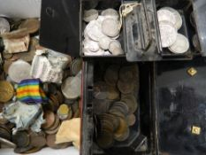 A collection of various coins,