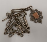 A silver watch chain and fob (72 grammes)