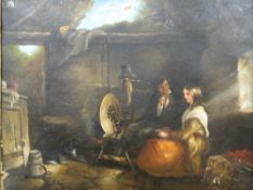 CONTINENTAL SCHOOL (19th century), Young Lovers, oil on canvas, unsigned, framed. 44 x 35 cm.