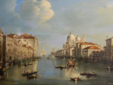 CONTINENTAL SCHOOL (20th century), Venice Grand Canal, oil on canvas, indistinctly signed, unframed.